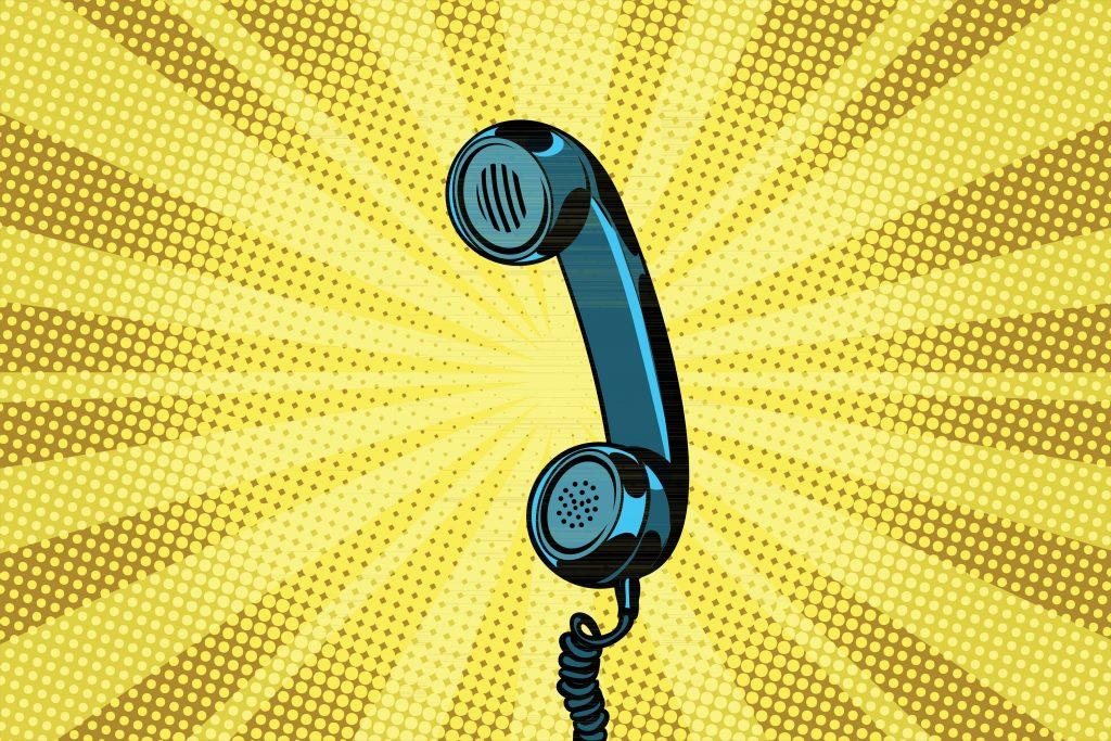 Grafik Telefonhörer auf gelbem Hintergrund