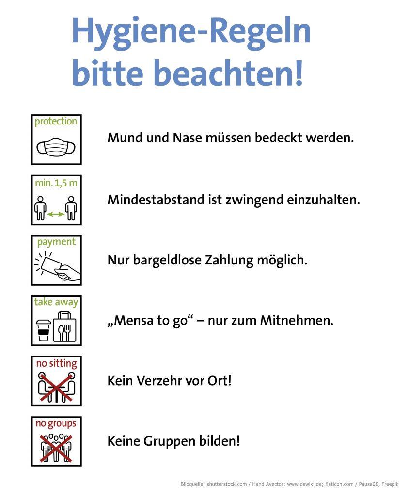 Mensa to go beim Studentenwerk Augsburg, Hygiene-Regeln