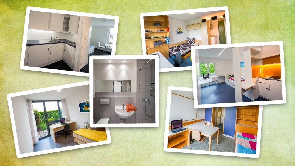 Collage - verschiedene Bilder aus den Apartments in den Wohnanlagen des Studentenwerks Augsburg